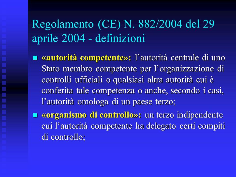 Regolamento (CE) N. 882/2004 del 29 aprile 2004 - definizioni «autorità competente»: l'autorità centrale di uno Stato membro competente per l'organizz