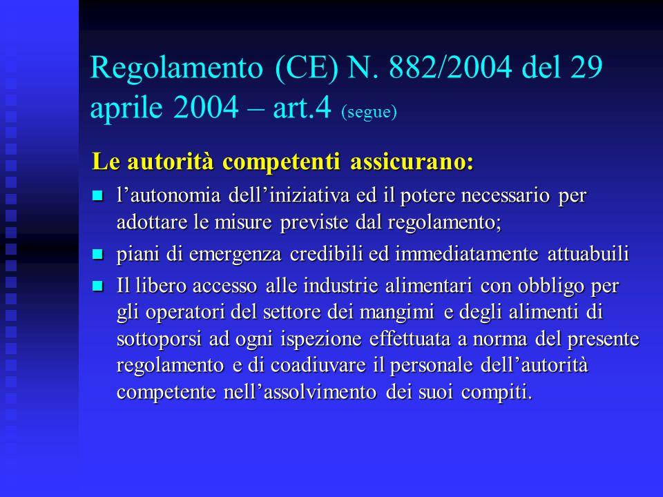 Regolamento (CE) N. 882/2004 del 29 aprile 2004 – art.4 (segue) Le autorità competenti assicurano: l'autonomia dell'iniziativa ed il potere necessario