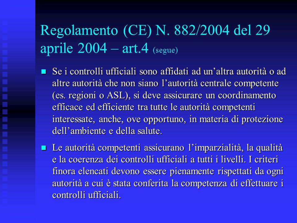 Regolamento (CE) N. 882/2004 del 29 aprile 2004 – art.4 (segue) Se i controlli ufficiali sono affidati ad un'altra autorità o ad altre autorità che no