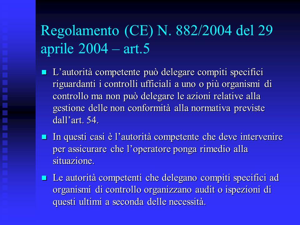 Regolamento (CE) N. 882/2004 del 29 aprile 2004 – art.5 L'autorità competente può delegare compiti specifici riguardanti i controlli ufficiali a uno o