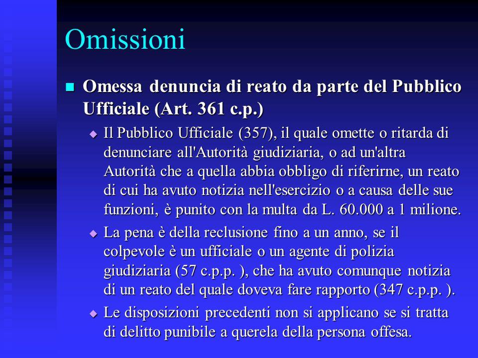 Omissioni Omessa denuncia di reato da parte del Pubblico Ufficiale (Art. 361 c.p.) Omessa denuncia di reato da parte del Pubblico Ufficiale (Art. 361