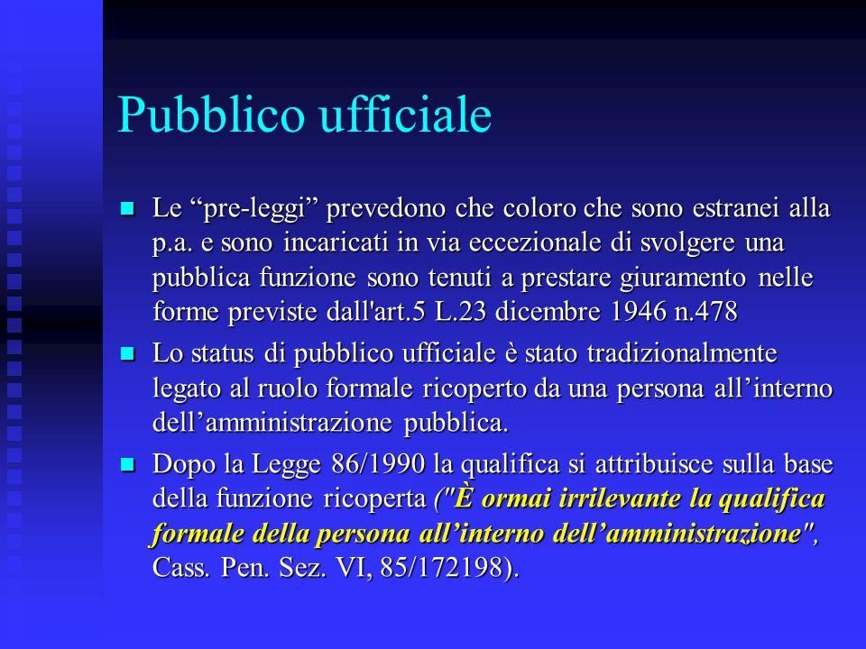Pubblico ufficiale Un rapporto di subordinazione o di dipendenza con l'Ente pubblico non è condicio sine qua non per l attribuzione dello status di pubblico ufficiale (Cass.