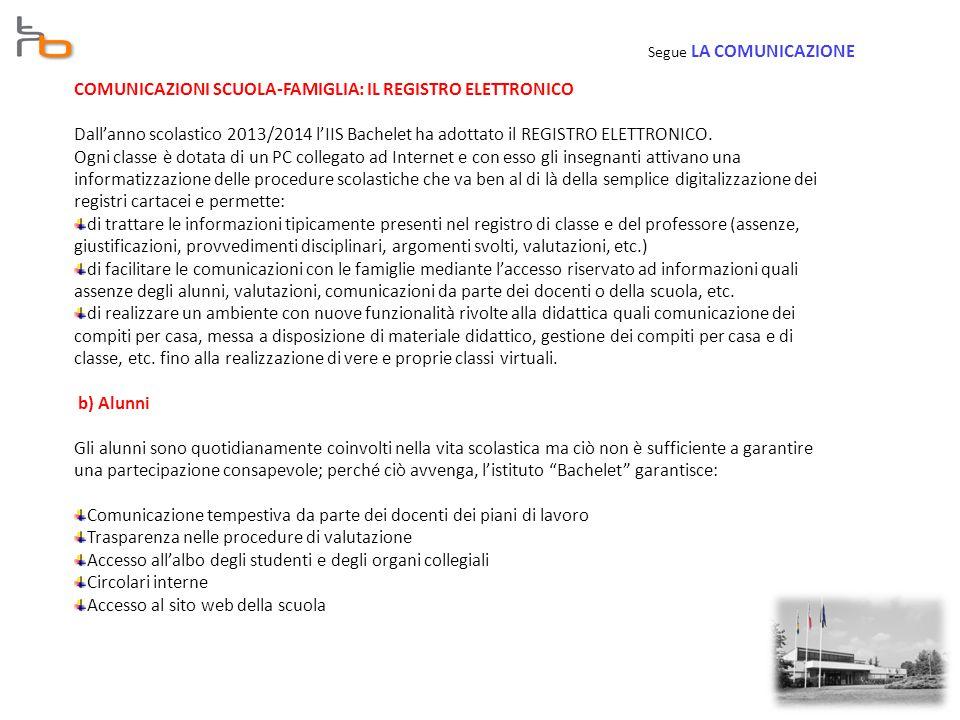 COMUNICAZIONI SCUOLA-FAMIGLIA: IL REGISTRO ELETTRONICO Dall'anno scolastico 2013/2014 l'IIS Bachelet ha adottato il REGISTRO ELETTRONICO.