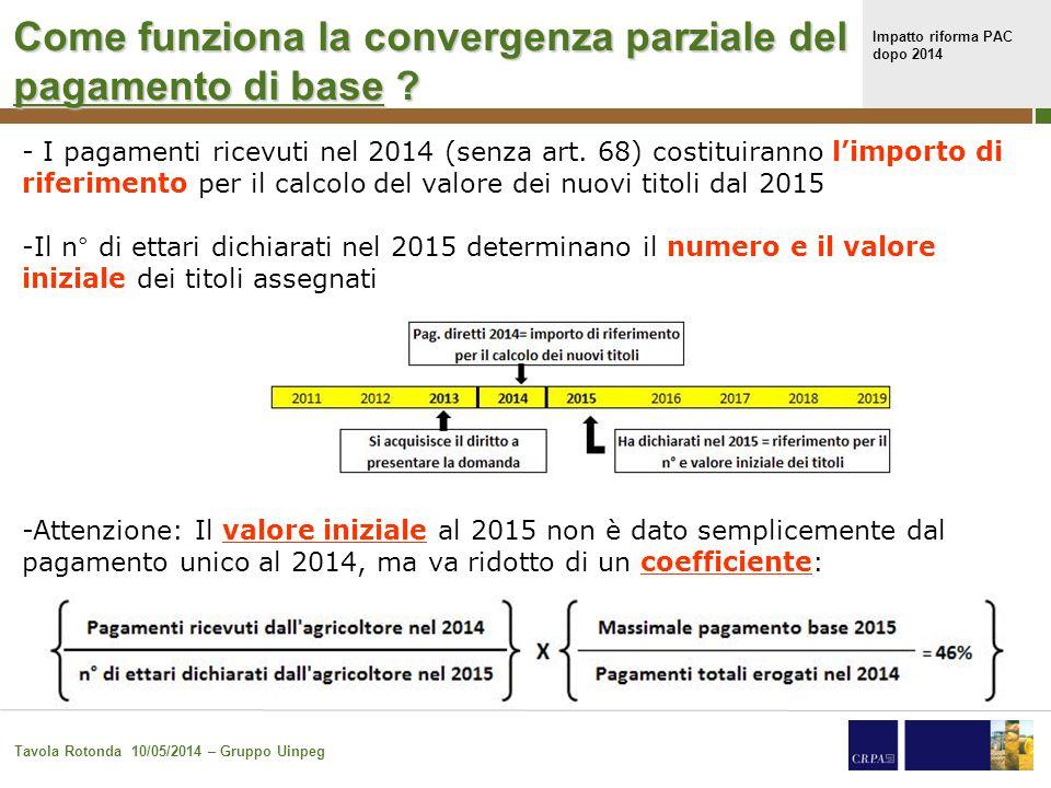 Impatto riforma PAC dopo 2014 Tavola Rotonda 10/05/2014 – Gruppo Uinpeg 16 - I pagamenti ricevuti nel 2014 (senza art.
