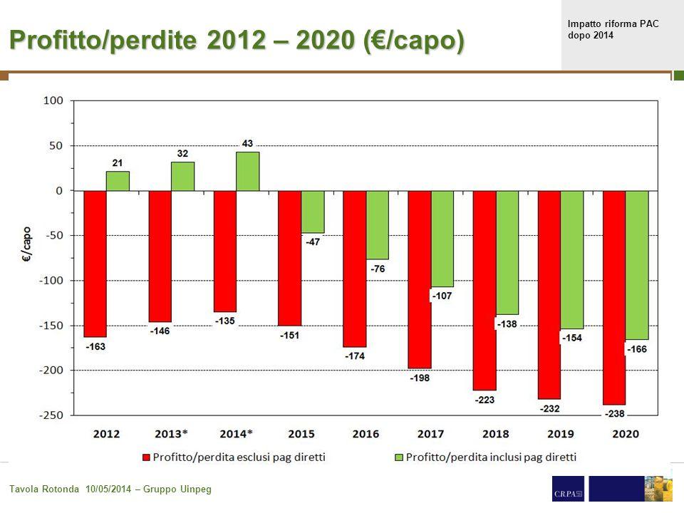 Impatto riforma PAC dopo 2014 Tavola Rotonda 10/05/2014 – Gruppo Uinpeg 24 Profitto/perdite 2012 – 2020 (€/capo)