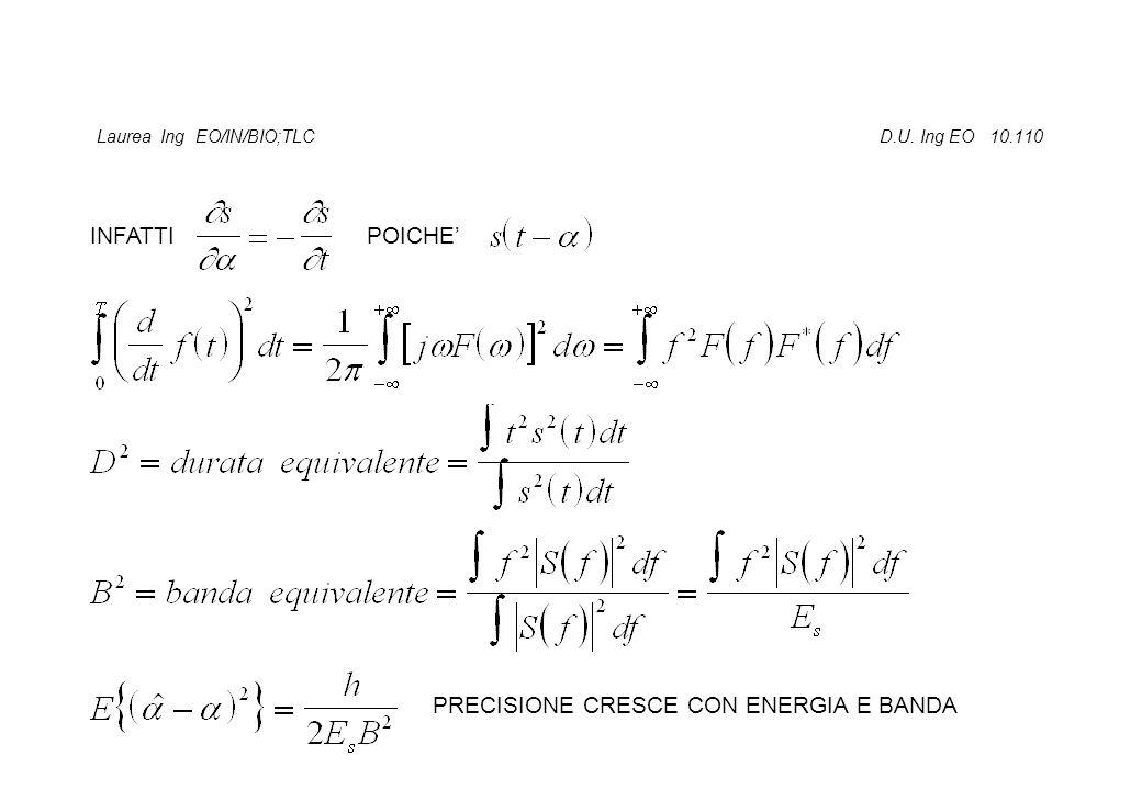 Laurea Ing EO/IN/BIO;TLC D.U. Ing EO 10.110 INFATTI POICHE' PRECISIONE CRESCE CON ENERGIA E BANDA