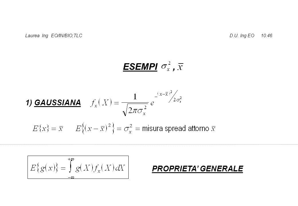 Laurea Ing EO/IN/BIO;TLC D.U. Ing EO 10.46 ESEMPI, 1) GAUSSIANA PROPRIETA' GENERALE