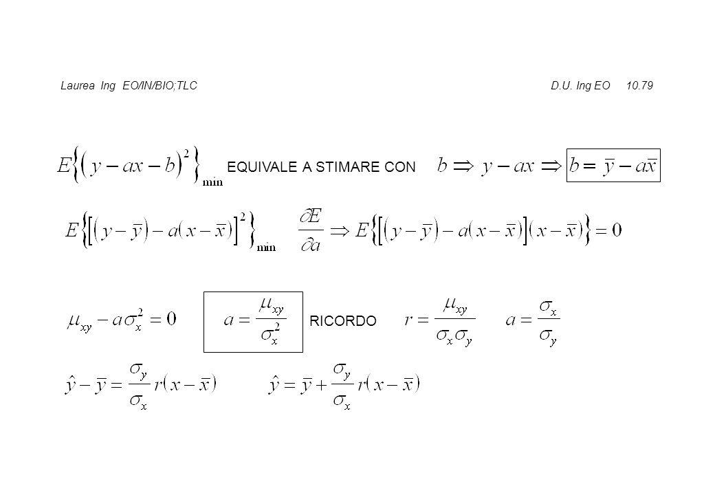 Laurea Ing EO/IN/BIO;TLC D.U. Ing EO 10.79 EQUIVALE A STIMARE CON RICORDO