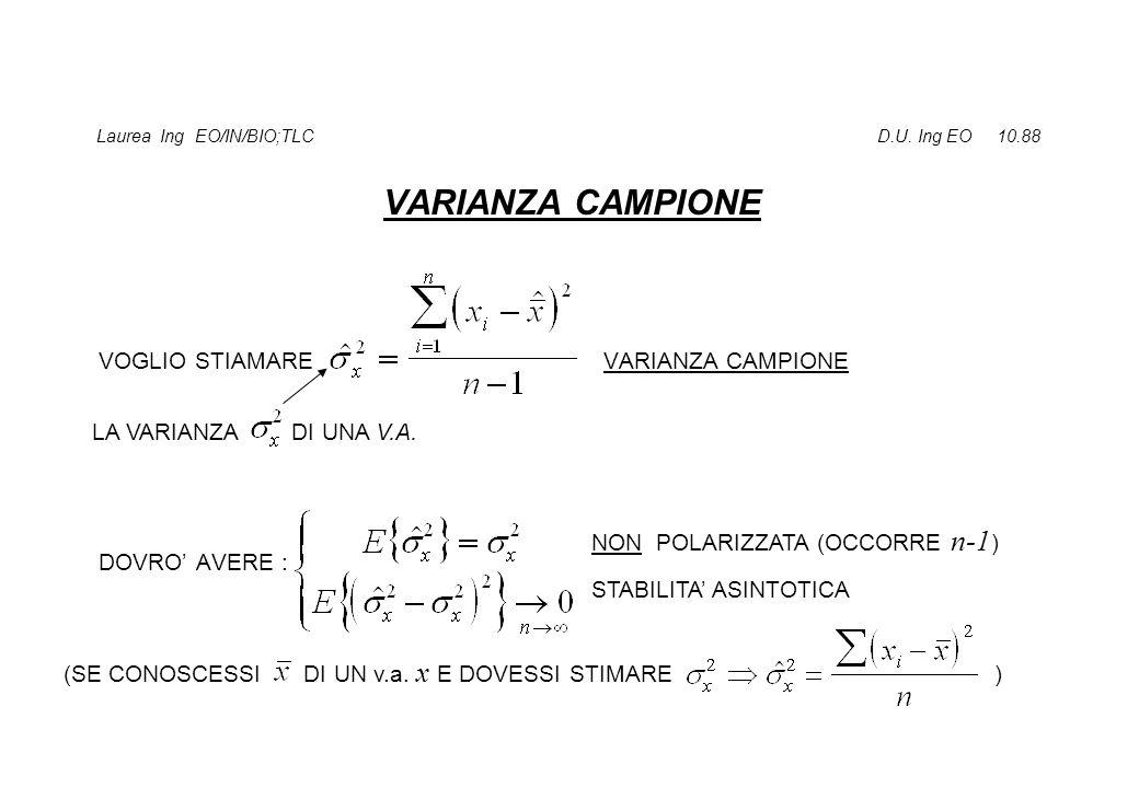 Laurea Ing EO/IN/BIO;TLC D.U. Ing EO 10.88 VARIANZA CAMPIONE VOGLIO STIAMARE VARIANZA CAMPIONE DOVRO' AVERE : LA VARIANZA DI UNA V.A. NON POLARIZZATA