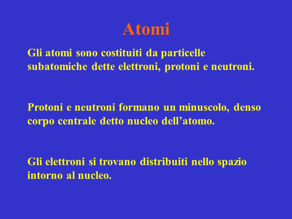 Atomi Gli atomi sono costituiti da particelle subatomiche dette elettroni, protoni e neutroni. Protoni e neutroni formano un minuscolo, denso corpo ce