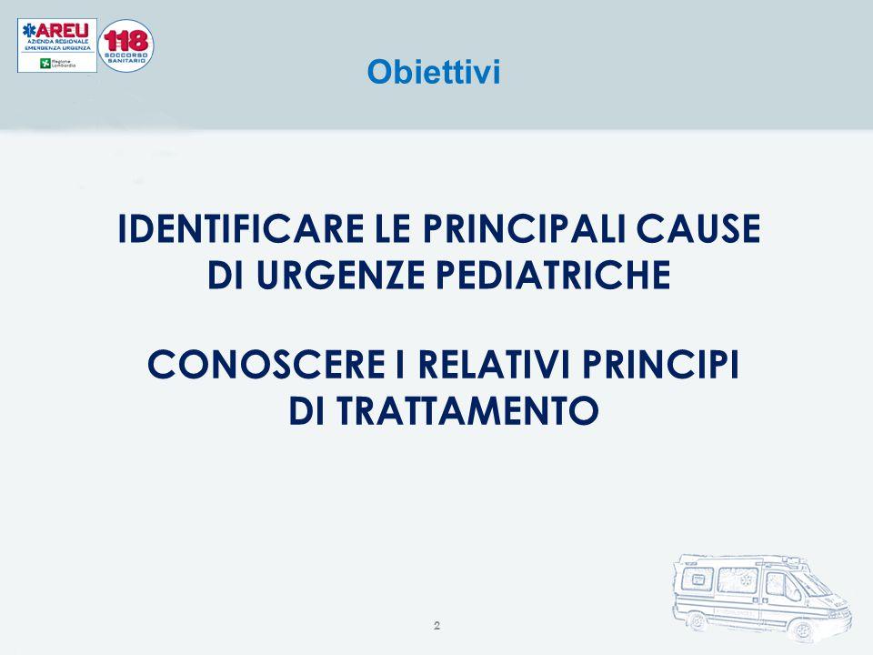 Obiettivi IDENTIFICARE LE PRINCIPALI CAUSE DI URGENZE PEDIATRICHE CONOSCERE I RELATIVI PRINCIPI DI TRATTAMENTO 2
