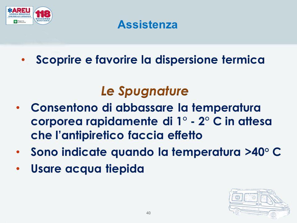 Scoprire e favorire la dispersione termica Assistenza Consentono di abbassare la temperatura corporea rapidamente di 1° - 2° C in attesa che l'antipir