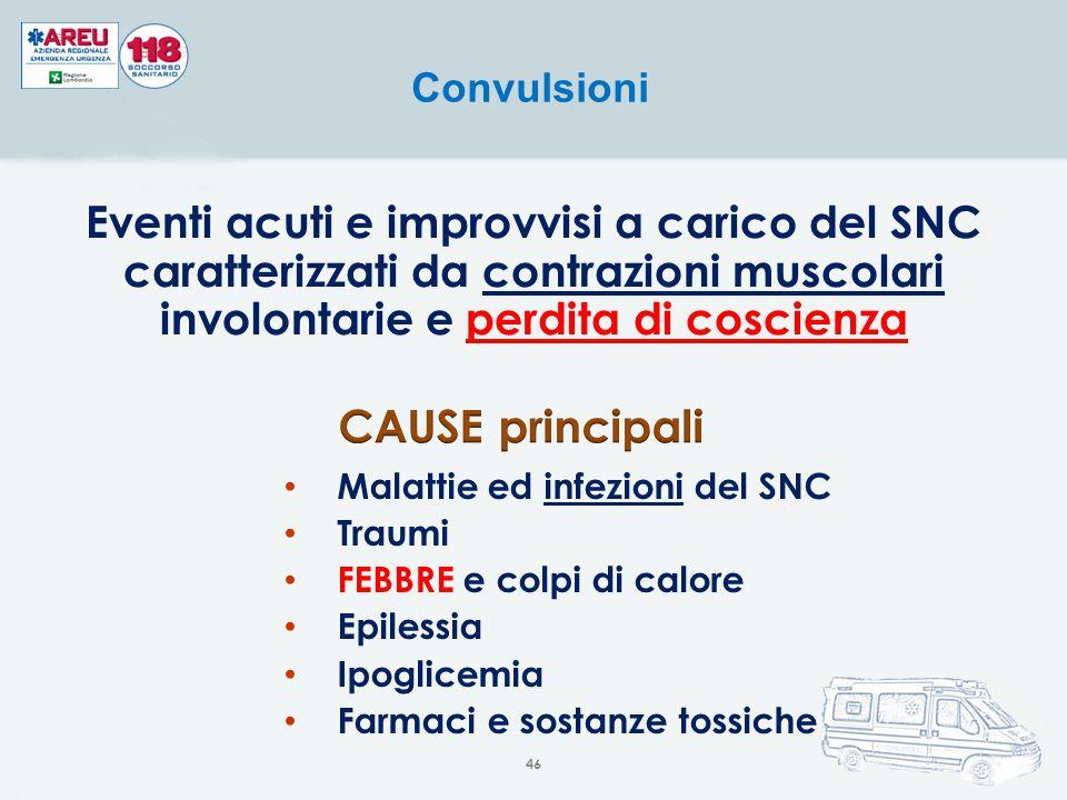 Eventi acuti e improvvisi a carico del SNC caratterizzati da contrazioni muscolari involontarie e perdita di coscienza Convulsioni Malattie ed infezio