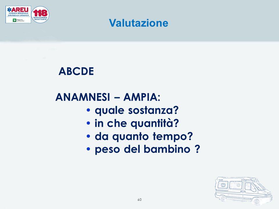 ABCDE ANAMNESI – AMPIA: quale sostanza? in che quantità? da quanto tempo? peso del bambino ? Valutazione 60