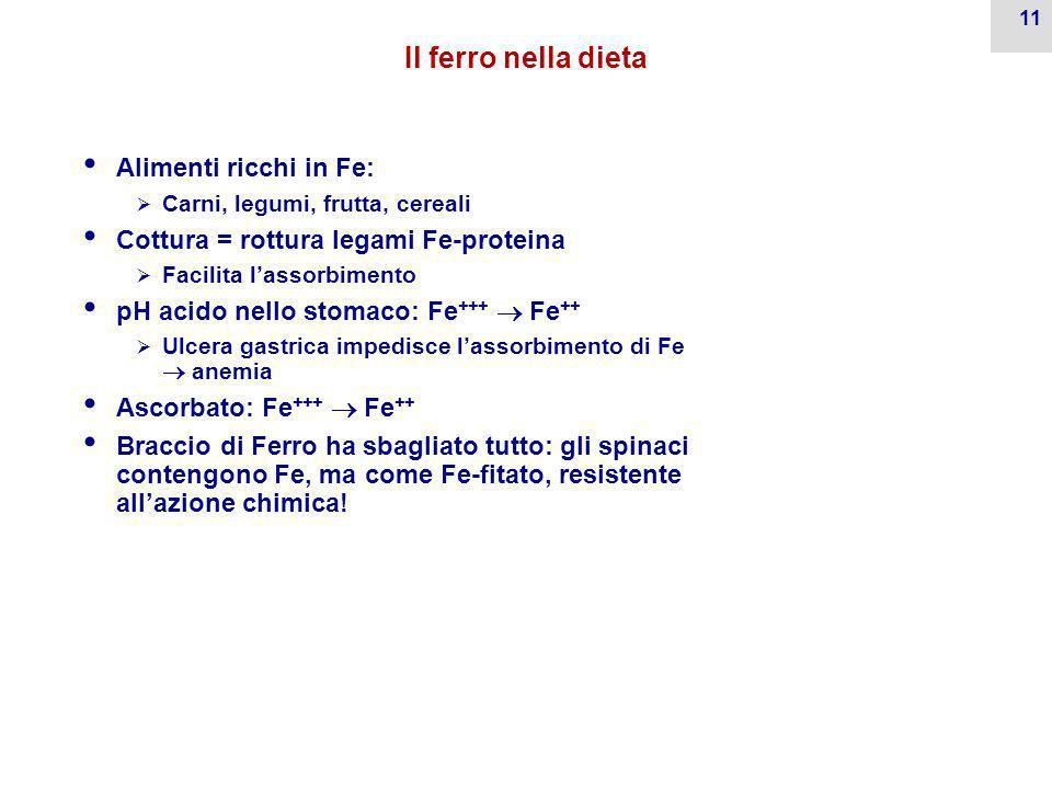 10 Assorbimento duodenale e escrezione di Fe Assorbimento Poco efficiente  Normale: <10%  In caso di deficit di Fe: 30% Fabbisogno:  1 mg/die per s