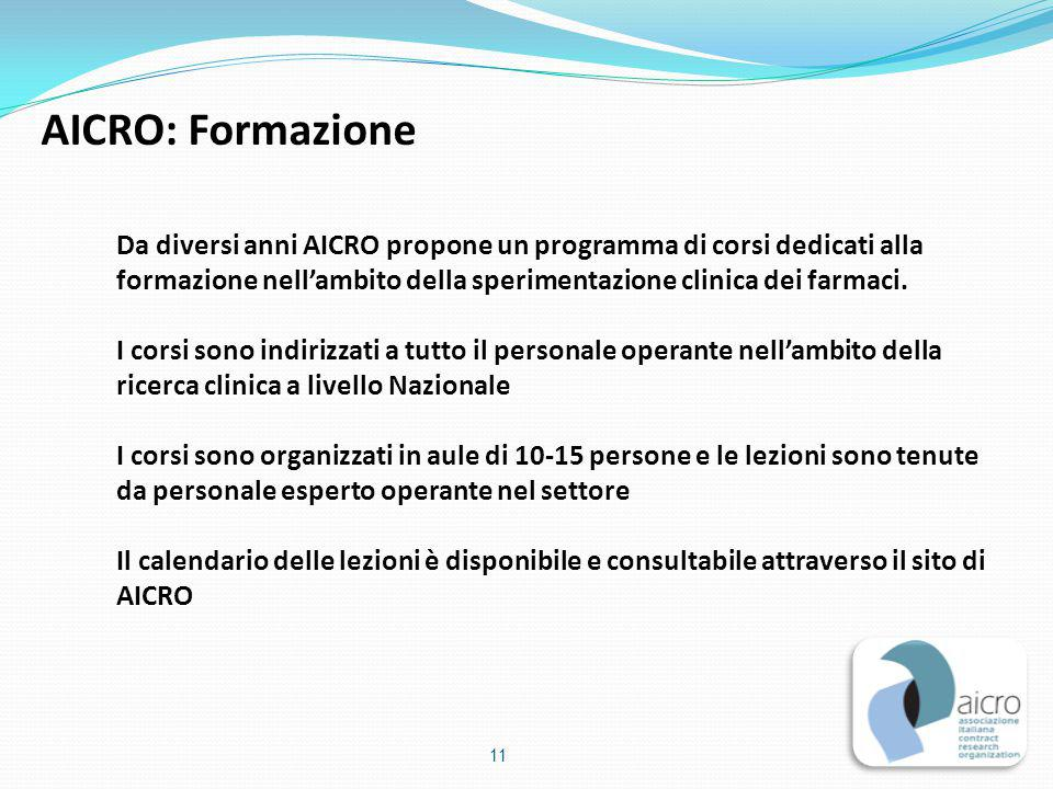 Da diversi anni AICRO propone un programma di corsi dedicati alla formazione nell'ambito della sperimentazione clinica dei farmaci. I corsi sono indir