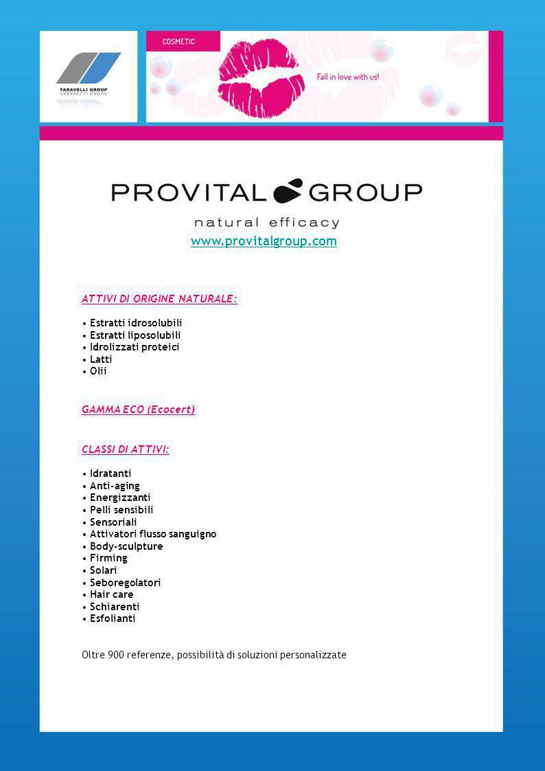 ATTIVI DI ORIGINE NATURALE: Estratti idrosolubili Estratti liposolubili Idrolizzati proteici Latti Olii GAMMA ECO (Ecocert) CLASSI DI ATTIVI: Idratant