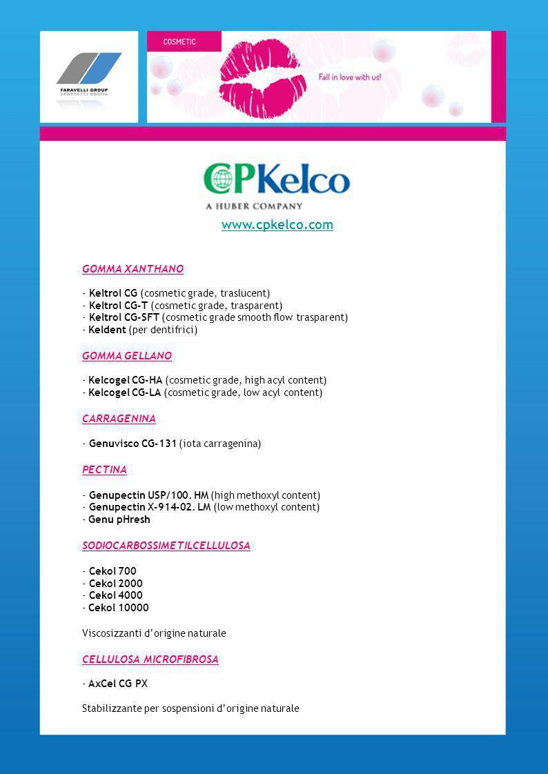 ANTIAGING - Acido ursolico sale sodico - Omega CTP active - Estratto di lievito - Magnesio ascorbilfosfato - Arbutina - Acido ferulico e acido ferulico stabilizzato - Acido etilascorbico IDRATANTI - Estratto di semi Pyrus Cydonia - Konjac Mannan (glucomannan soluz.) - Collagene - Elastina - Coenzyma Q10 - Biotin LENITIVI - Fitosteroli di soia - Sabal serrulata - Acido glicirretico e i suoi derivati - Alfa bisabololo naturale - Esculina ANTIOSSIDANTI - Estratto di Sambucus nigra - Acido Tannico www.gfn-selco.de
