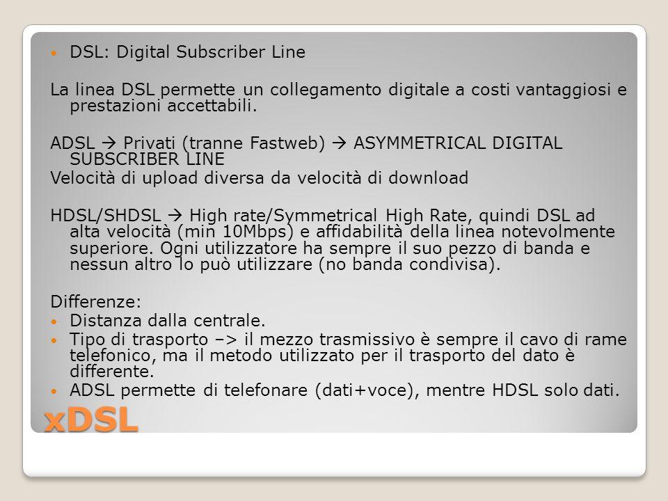 xDSL DSL: Digital Subscriber Line La linea DSL permette un collegamento digitale a costi vantaggiosi e prestazioni accettabili. ADSL  Privati (tranne