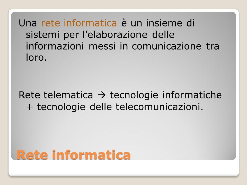 Rete informatica Una rete informatica è un insieme di sistemi per l'elaborazione delle informazioni messi in comunicazione tra loro. Rete telematica 
