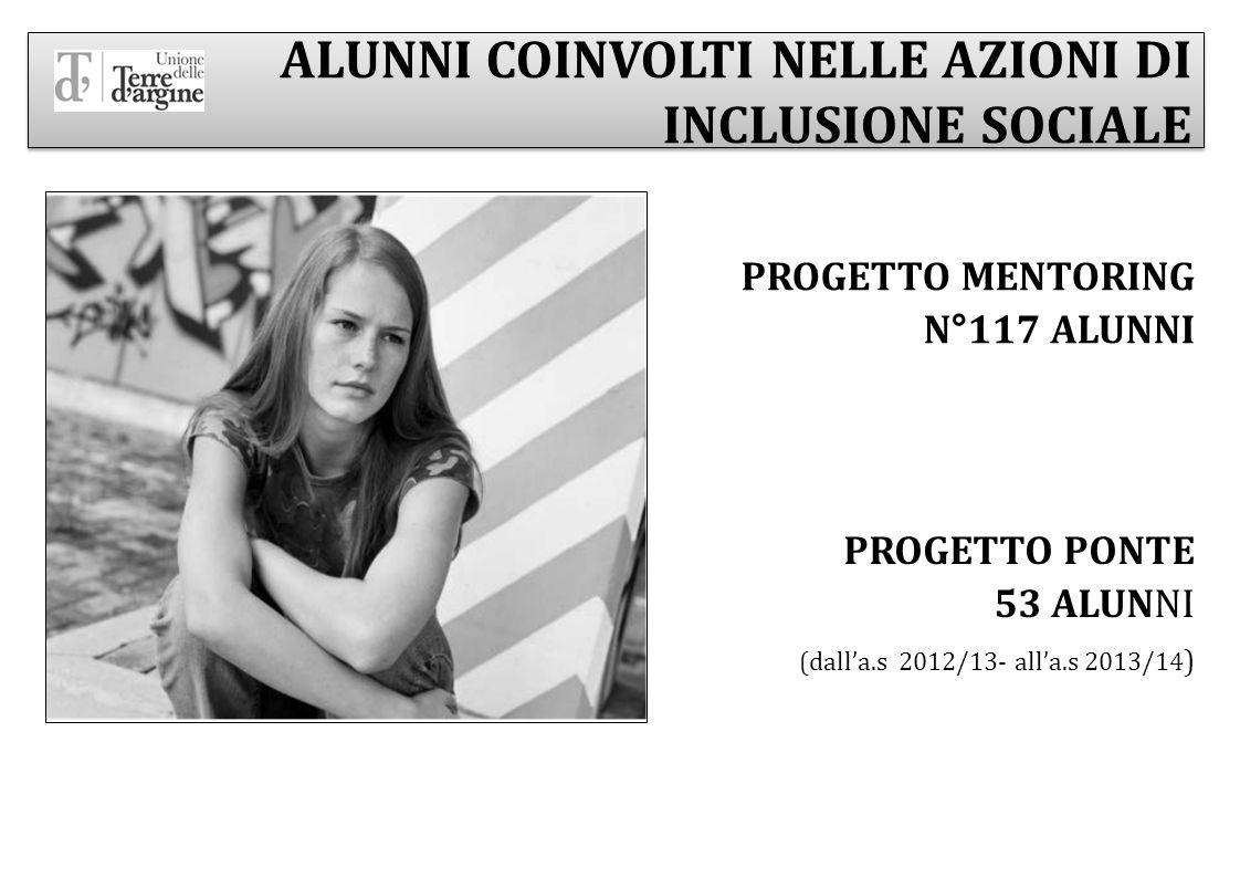ALUNNI COINVOLTI NELLE AZIONI DI INCLUSIONE SOCIALE PROGETTO MENTORING N°117 ALUNNI PROGETTO PONTE 53 ALUNNI (dall'a.s 2012/13- all'a.s 2013/14 )