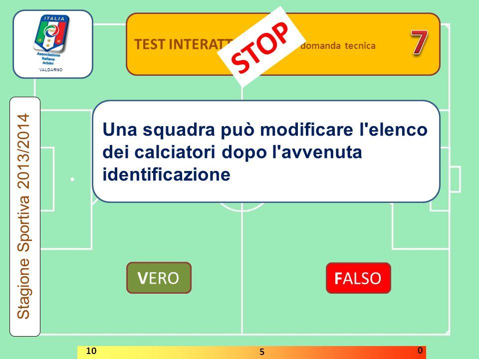 TEST INTERATTIVI domanda tecnica Una squadra può modificare l elenco dei calciatori dopo l avvenuta identificazione VERO FALSO Stagione Sportiva 2013/2014 STOP 10 5 0 VALDARNO