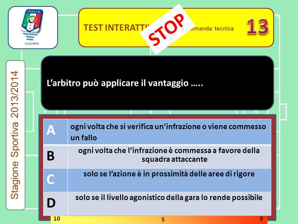 TEST INTERATTIVI domanda tecnica L'arbitro può applicare il vantaggio …..