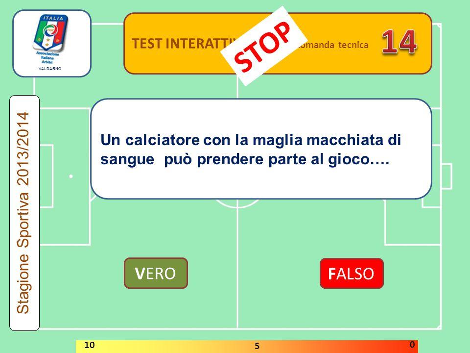 TEST INTERATTIVI domanda tecnica Un calciatore con la maglia macchiata di sangue può prendere parte al gioco…. VERO FALSO Stagione Sportiva 2013/2014