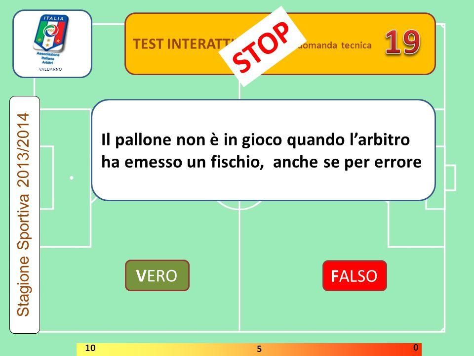TEST INTERATTIVI domanda tecnica Il pallone non è in gioco quando l'arbitro ha emesso un fischio, anche se per errore VERO FALSO Stagione Sportiva 2013/2014 STOP 10 5 0 VALDARNO