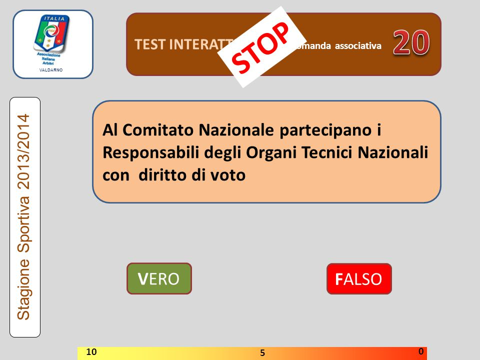 TEST INTERATTIVI domanda associativa Al Comitato Nazionale partecipano i Responsabili degli Organi Tecnici Nazionali con diritto di voto VERO FALSO Stagione Sportiva 2013/2014 STOP 10 5 0 VALDARNO