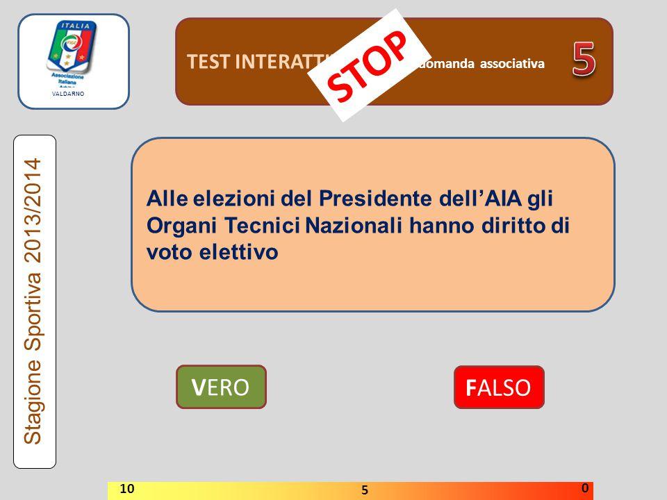 TEST INTERATTIVI domanda associativa VERO FALSO Stagione Sportiva 2013/2014 STOP 10 5 0 Alle elezioni del Presidente dell'AIA gli Organi Tecnici Nazio