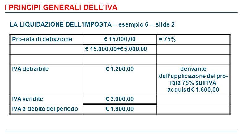 I PRINCIPI GENERALI DELL'IVA LA LIQUIDAZIONE DELL'IMPOSTA – esempio 6 – slide 2 Pro-rata di detrazione€ 15.000,00= 75% € 15.000,00+€ 5.000,00 IVA detraibile€ 1.200,00derivante dall'applicazione del pro- rata 75% sull'IVA acquisti € 1.600,00 IVA vendite€ 3.000,00 IVA a debito del periodo€ 1.800,00