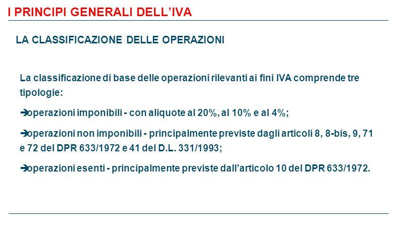 I PRINCIPI GENERALI DELL'IVA LA LIQUIDAZIONE DELL'IMPOSTA – esempio 7 ACQUISTIVENDITE Imponibile%IVAImponibile%IVA € 2.000,0020€ 400,00 ind.