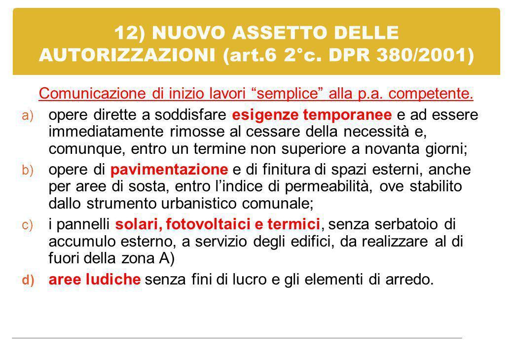 """12) NUOVO ASSETTO DELLE AUTORIZZAZIONI (art.6 2°c. DPR 380/2001) Comunicazione di inizio lavori """"semplice"""" alla p.a. competente. a) opere dirette a so"""