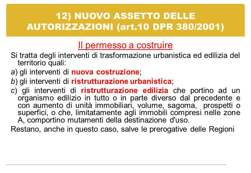 12) NUOVO ASSETTO DELLE AUTORIZZAZIONI (art.10 DPR 380/2001) Il permesso a costruire Si tratta degli interventi di trasformazione urbanistica ed edili