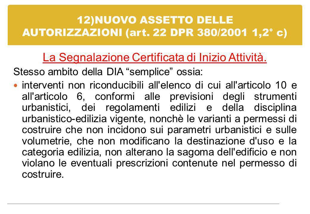 """12)NUOVO ASSETTO DELLE AUTORIZZAZIONI (art. 22 DPR 380/2001 1,2° c) La Segnalazione Certificata di Inizio Attività. Stesso ambito della DIA """"semplice"""""""