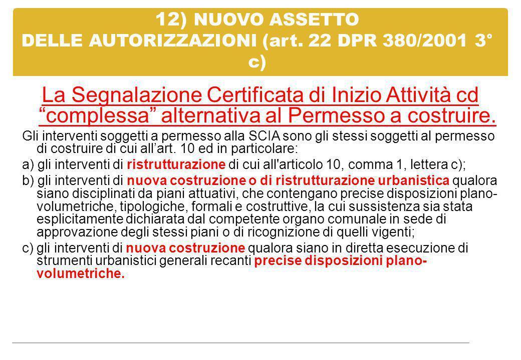 """12) NUOVO ASSETTO DELLE AUTORIZZAZIONI (art. 22 DPR 380/2001 3° c) La Segnalazione Certificata di Inizio Attività cd """"complessa"""" alternativa al Permes"""