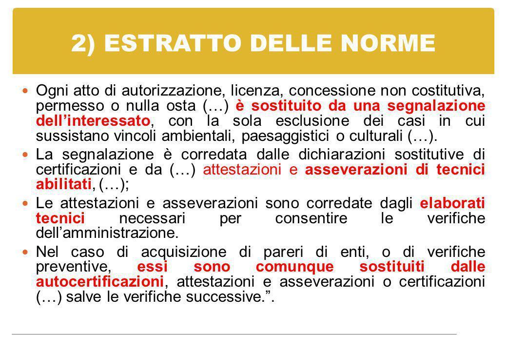 2) ESTRATTO DELLE NORME Ogni atto di autorizzazione, licenza, concessione non costitutiva, permesso o nulla osta (…) è sostituito da una segnalazione