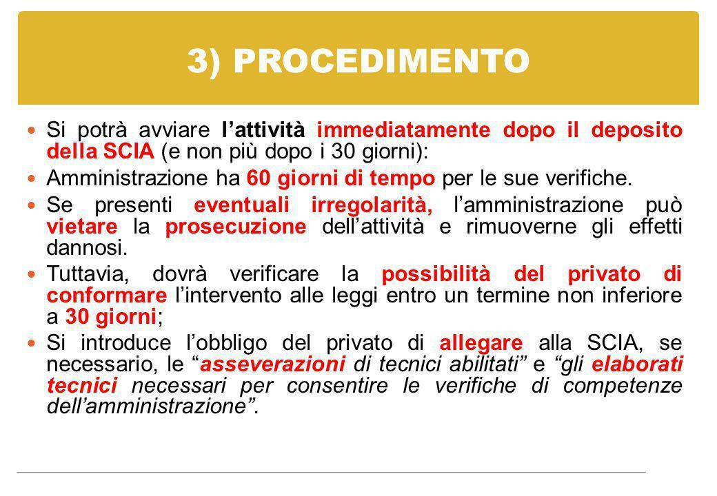 3) PROCEDIMENTO Si potrà avviare l'attività immediatamente dopo il deposito della SCIA (e non più dopo i 30 giorni): Amministrazione ha 60 giorni di t