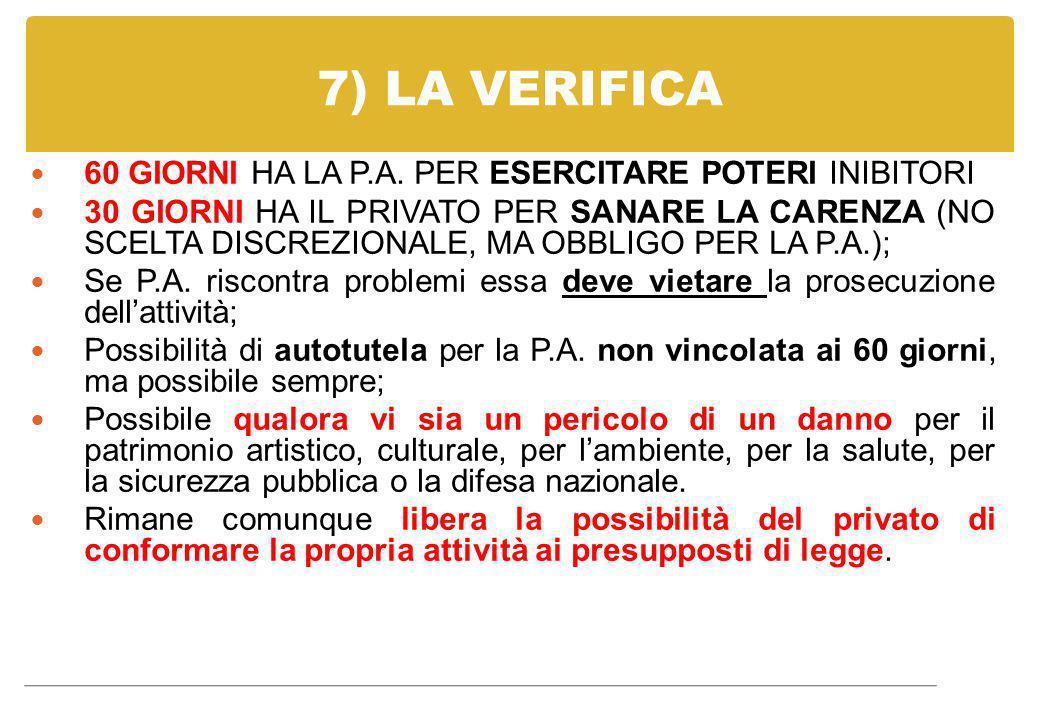 7) LA VERIFICA 60 GIORNI HA LA P.A. PER ESERCITARE POTERI INIBITORI 30 GIORNI HA IL PRIVATO PER SANARE LA CARENZA (NO SCELTA DISCREZIONALE, MA OBBLIGO