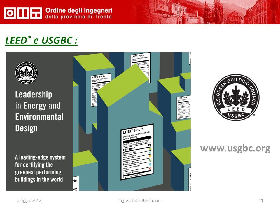 maggio 2012ing. Stefano Boscherini11 LEED ® e USGBC : www.usgbc.org