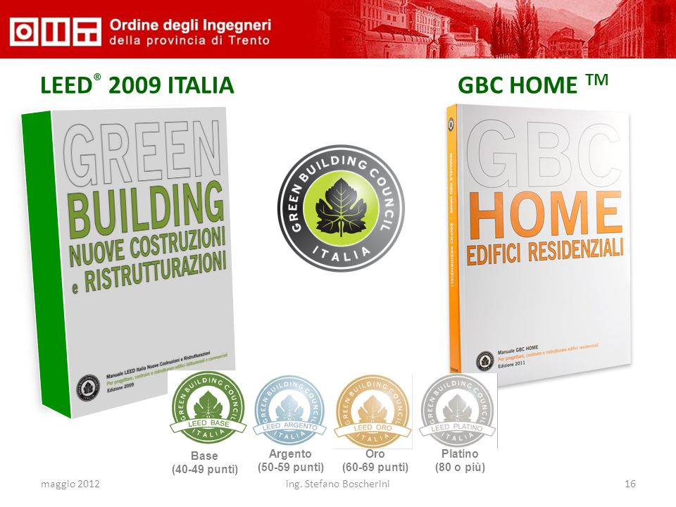 maggio 2012ing. Stefano Boscherini16 LEED ® 2009 ITALIAGBC HOME TM Base (40-49 punti) Argento (50-59 punti) Oro (60-69 punti) Platino (80 o più)