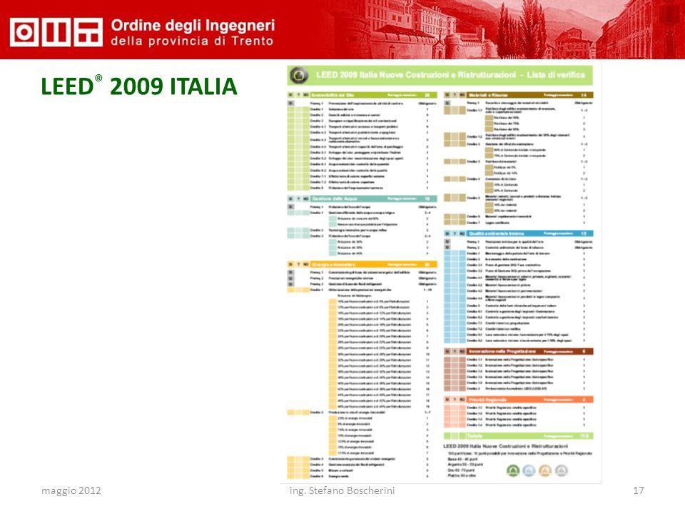 maggio 2012ing. Stefano Boscherini17 LEED ® 2009 ITALIA Sostenibilit à del sito 26 Energia e Atmosfera 35 Gestione delle Acque 10 Qualità ambientale I