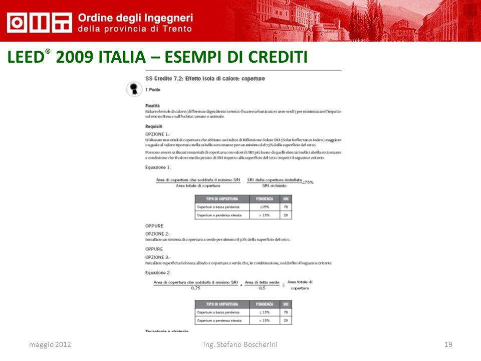 maggio 2012ing. Stefano Boscherini19 LEED ® 2009 ITALIA – ESEMPI DI CREDITI