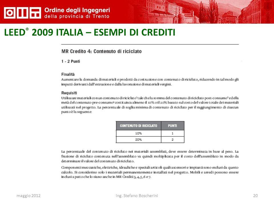 maggio 2012ing. Stefano Boscherini20 LEED ® 2009 ITALIA – ESEMPI DI CREDITI