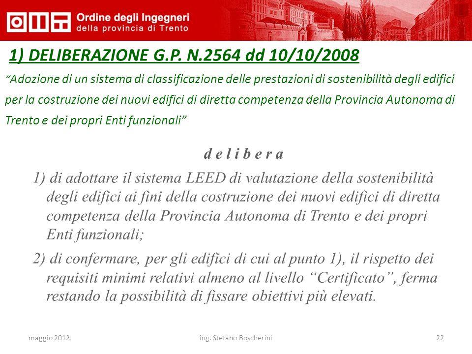 """maggio 2012ing. Stefano Boscherini22 1) DELIBERAZIONE G.P. N.2564 dd 10/10/2008 """" Adozione di un sistema di classificazione delle prestazioni di soste"""
