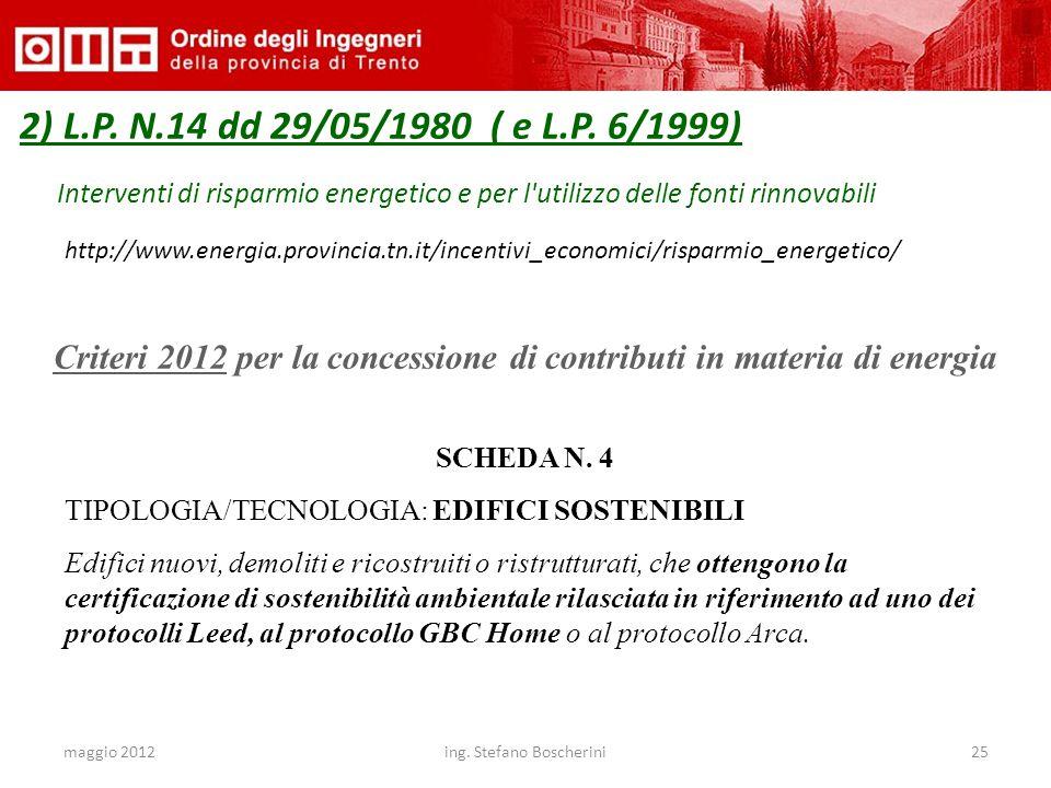 maggio 2012ing. Stefano Boscherini25 2) L.P. N.14 dd 29/05/1980 ( e L.P. 6/1999) Interventi di risparmio energetico e per l'utilizzo delle fonti rinno