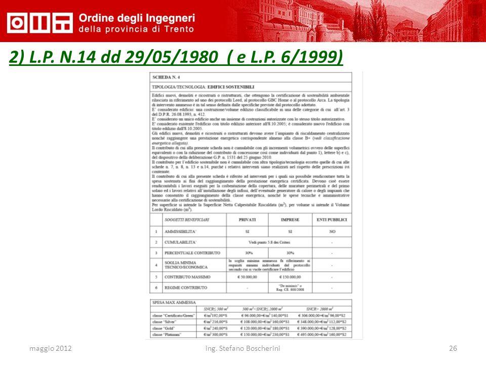 maggio 2012ing. Stefano Boscherini26 2) L.P. N.14 dd 29/05/1980 ( e L.P. 6/1999)