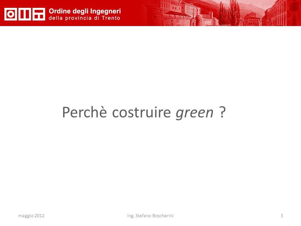 maggio 2012ing. Stefano Boscherini3 Perchè costruire green ?