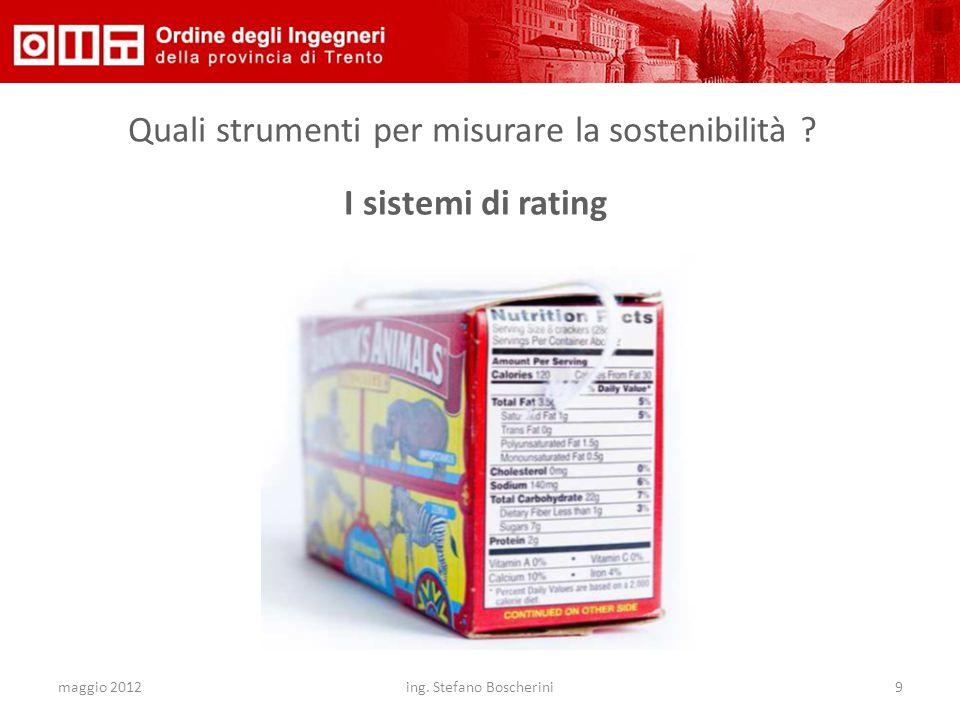 maggio 2012ing. Stefano Boscherini9 Quali strumenti per misurare la sostenibilità ? I sistemi di rating